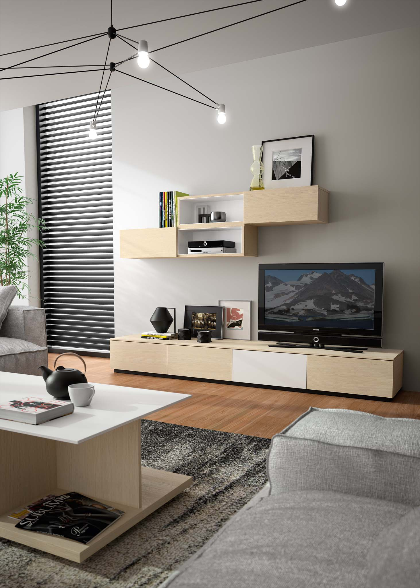 composition tv cascade meubles steinmetz. Black Bedroom Furniture Sets. Home Design Ideas