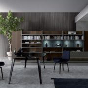 Contemporary TV wall unit / wooden / aluminum / by Mauro Lipparini